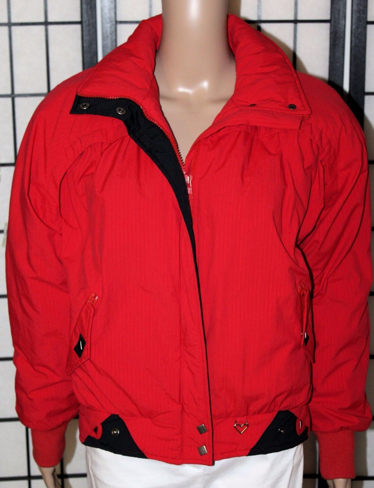 VINTAGE OBERMEYER SPORTS Women's Size 8 Red Zip Ski Winter Coat Jacket EUC