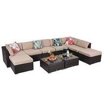 PHI VILLA 10-Piece Outdoor Furniture Set Rattan Patio Sectional Sofa wit... - $1,257.02