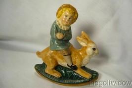 Vaillancourt Folk Art Limited Ed. Boy on Rocking Rabbit signed by Judi! image 1