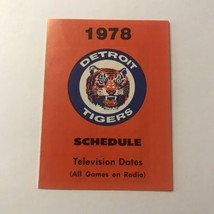 MLB Major League Baseball Detroit Tigers Team Season Schedule Vintage 1978 - $148.49