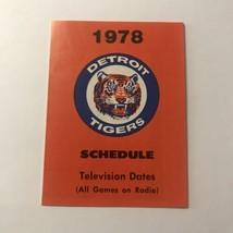 MLB Major League Baseball Detroit Tigers Team Season Schedule Vintage 1978 - $148.49