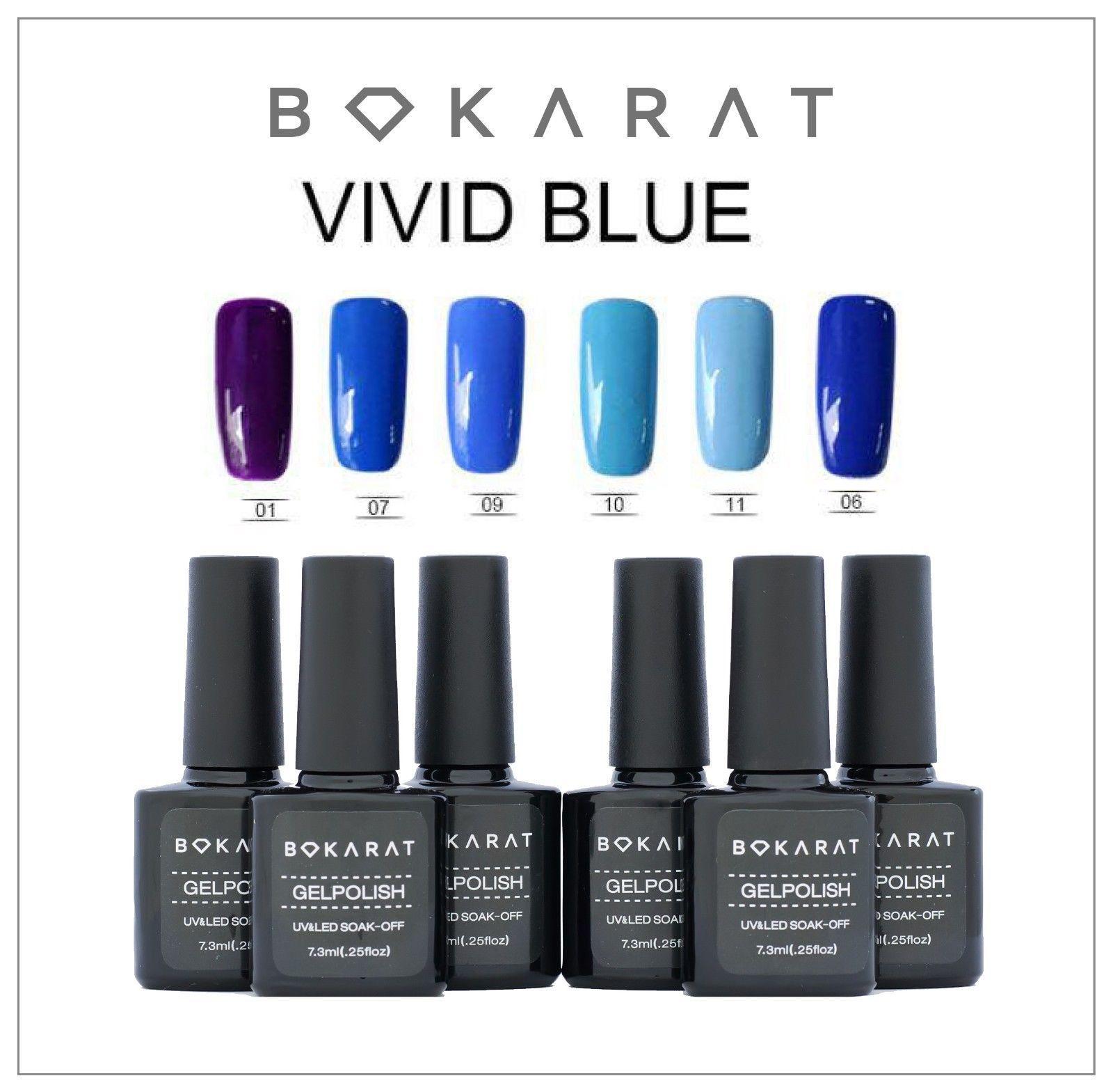 Bokarat Soak Off UV LED Vivid Blue Series Gel Nail Polish 6 Bottles x 7.3ml Set