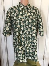 Van Heusen Over Easy Shirt Mens Size L Green Linen Cotton Short Sleeve L... - $26.60