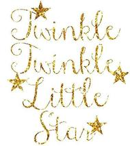 Gold Words Twinkle Twinkle Little Star Gold Stars Edible Cake Topper Ima... - $17.50