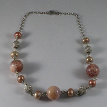 .925 SILVER RHODIUM NECKLACE WITH PINK PEARLS, PINK AGATE AND SILVER SPHERES image 2