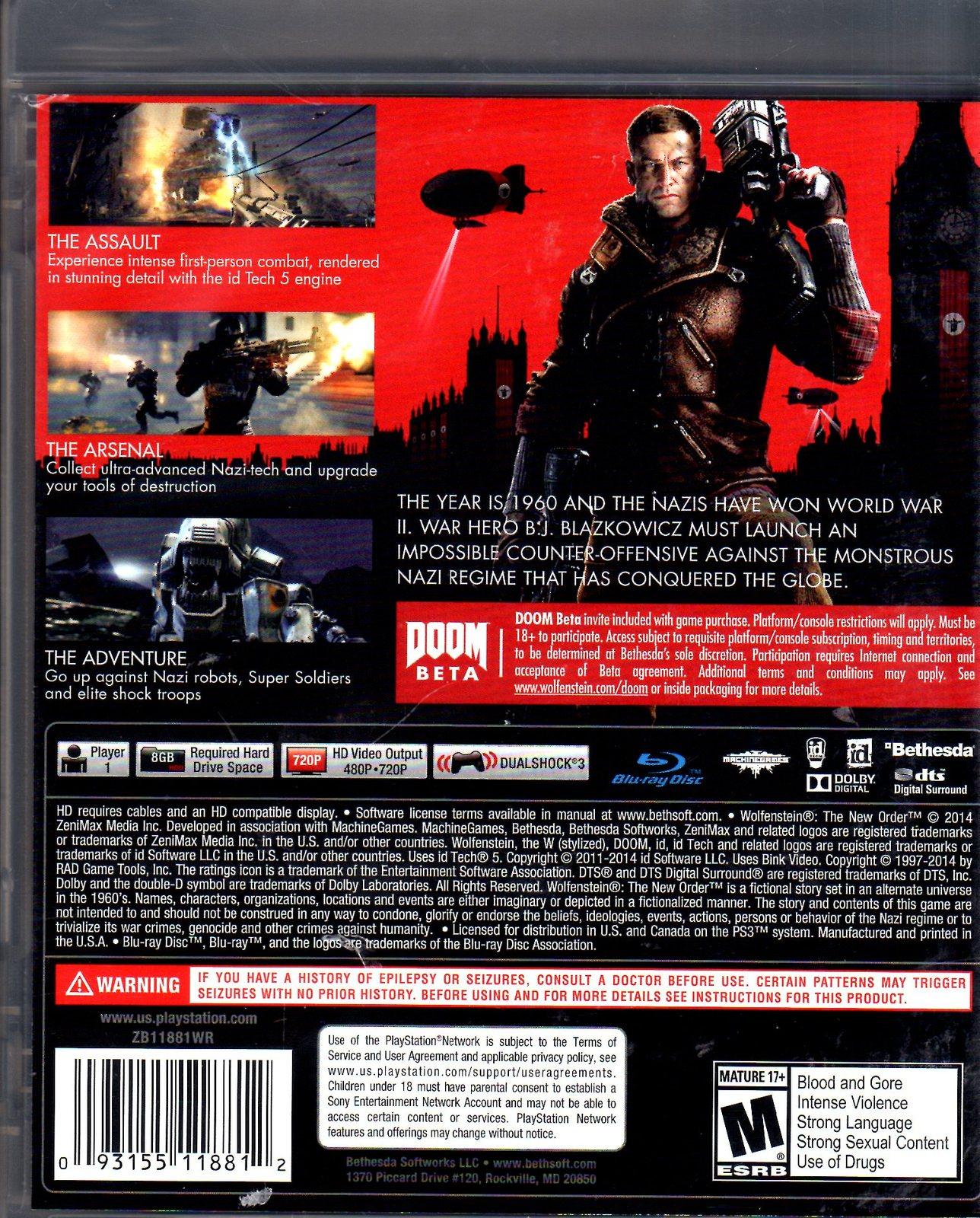 PlayStation 3 - Wolfenstein (The New Order)