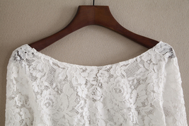 Lace Tops Long Sleeves Off-Shoulder Lace Crop Top White Bridesmaids Shirt US0-30 image 3