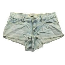 Abercrombie & Fitch Womens Denim Booty Shorts 00 Light Wash Raw Hem Stretch - $23.76