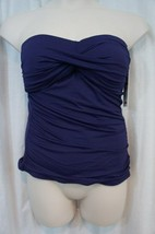 Anne Cole Tankini Top Sz XS Navy Blue Twist Bandeau Halter Tank Swimwear... - $25.26