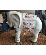 RARE 1972 Nixon Agnew Cast Iron Elephant GOP Vote Right Coin Bank Political - $449.99