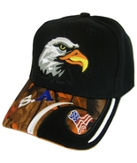 USA American Bald Eagle Patriotic Adjustable Baseball Cap BLACK/ORANGE CAMO - $11.95