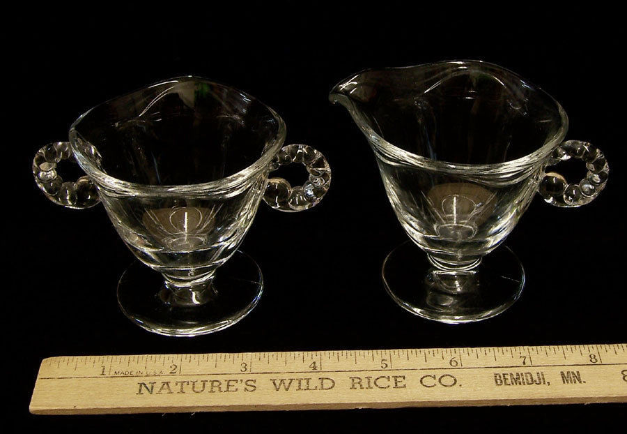 Vintage Fostoria Sugar & Creamer Coronet Pattern Clear Glass Lot of 2