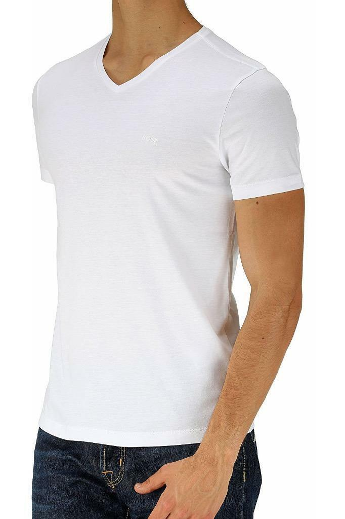 Hugo Boss Men C-Canistro Designer Slim Fit Cotton V-Neck T-Shirt White 50314063