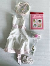 AMERICAN GIRL Flower Girl Outfit Dress with Flowers, Hair Bouquet & Gift Box Euc - $38.69
