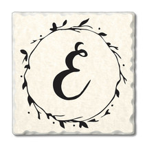 """Highland Home 4 Scripted Monogram Coasters""""E"""" w/wire holder - $23.99"""