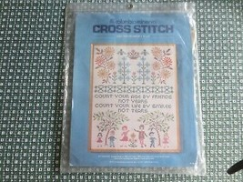 """1975 CM COUNT YOUR AGE SAMPLER Stamped CROSS STITCH Sealed KIT - 16"""" x 20"""" - $18.76"""
