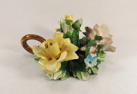 Lovely Old Capodimonte Candle Holder w Holder Beautiful Pastels - $19.95