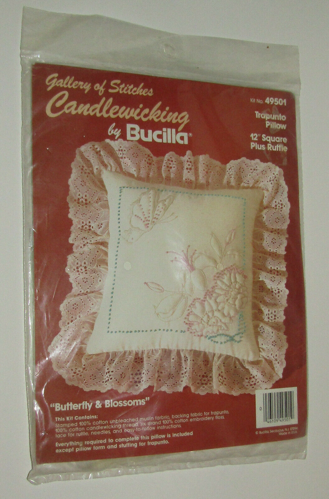 """Candlewicking Kit Butterfly Blossoms Trapunto Pillow 12"""" Square Plus Ruffle New - $14.54"""