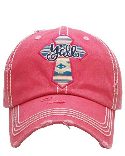 Distressed Embroidered Western Cross Y'all Baseball Hat (Hot Pink)