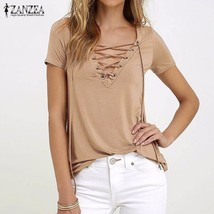 ZANZEA Women 2018 Summer Sexy V Neck Blouses Short Sleeve Casual Hollow ... - $34.50