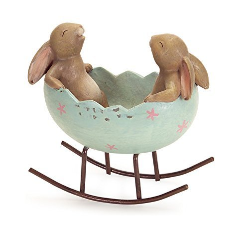 Laughing Bunny Rabbits Rocking in an Easter Egg Cradle
