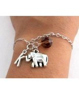 Elephant Bracelet- Birthstone and initial, Elephant Jewelry, Elephant Gift - $11.00