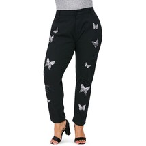 Plus Size Ripped Butterfly Embroidery Jeans(BLACK L) - $26.67