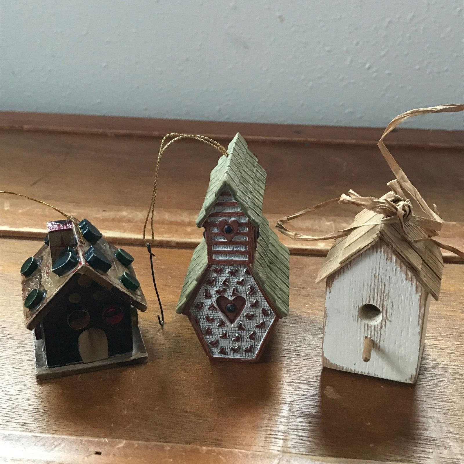 Estate Lot of 3 Mini Miniature Artist Signed Handmade White Wood Bird House SBB
