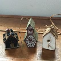 Estate Lot of 3 Mini Miniature Artist Signed Handmade White Wood Bird Ho... - $13.99