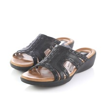 Clarks Artisan Black Leather Stitched Sandals Slides Comfort Shoes Women... - $29.59