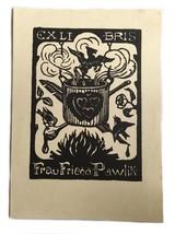 Ex Libris Exlibris Bookplate Frau Frieda Pawlik Dr. H. Seidl Holzschn - $29.69