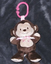 Carters Child Of Mine Stuffed Plush Press Monkey Brown Pink Ring Link Clip Toy - $19.79