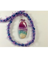 Necklace 24Inches Handmade Polymer Clay Wire Wrapped Pendant Mixed Media... - $39.99