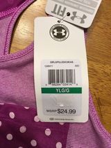 NWT Under Armour Girl's Purple Striped Heatgear Loose Tank Top - Size: Large image 9