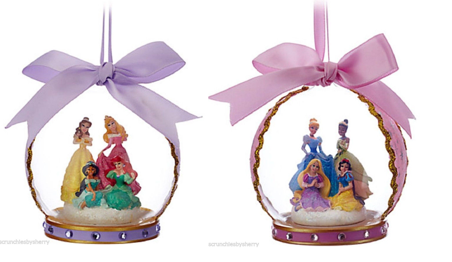 Primary image for Disney Christmas Glass Ornament Aurora Cinderella Belle Ariel Jasmine Theme Park