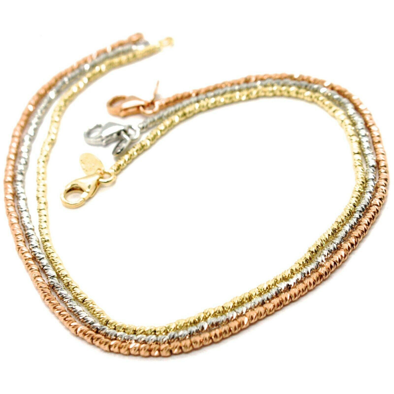 Gold Bracelet Pink Yellow or White 750 18K, 18.5 cm, Balls Faceted 1.5 MM