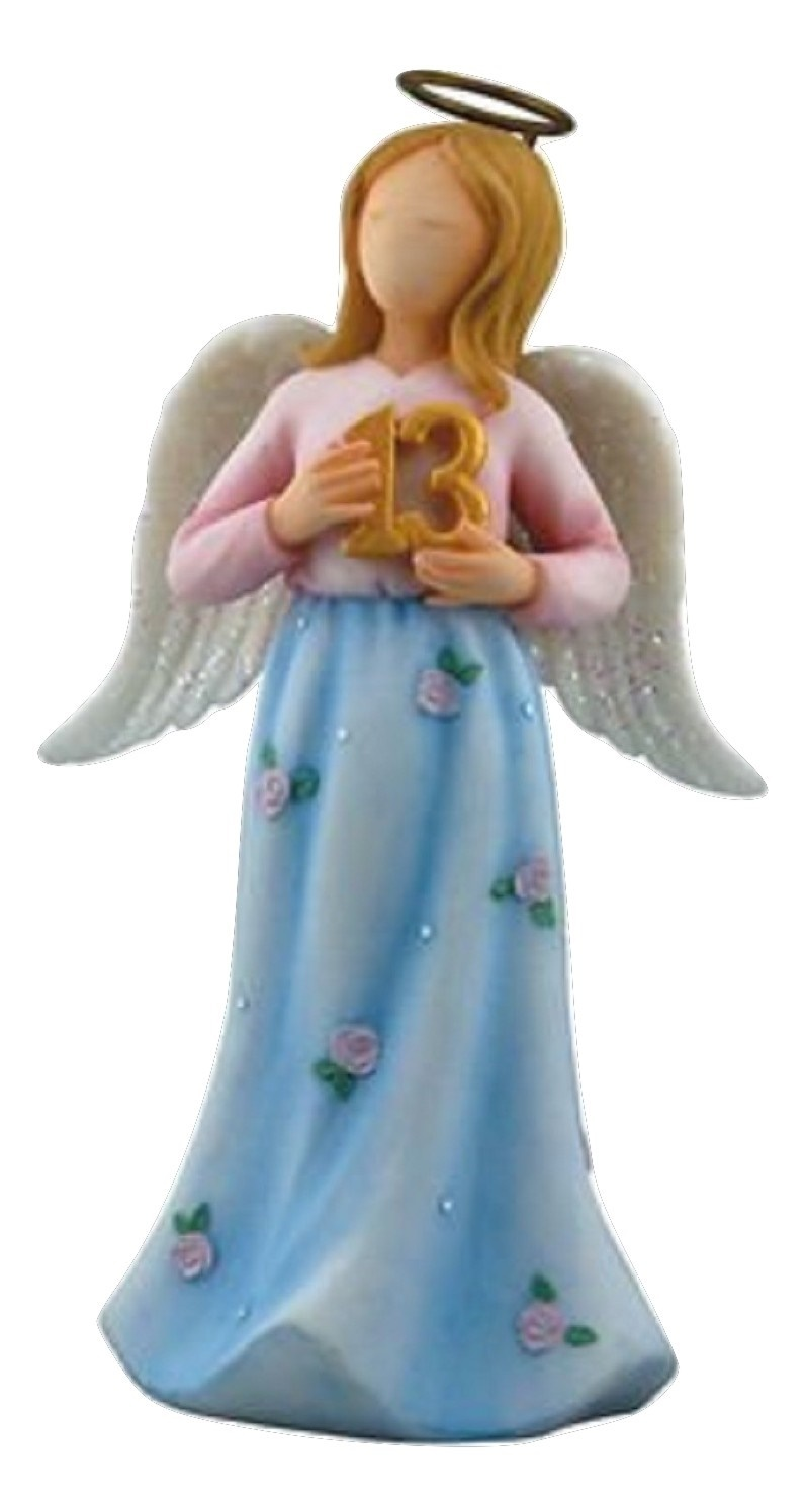 Faithful Guardians Growing Up Guardian Angel Figurine Age 13 in Blue Dress