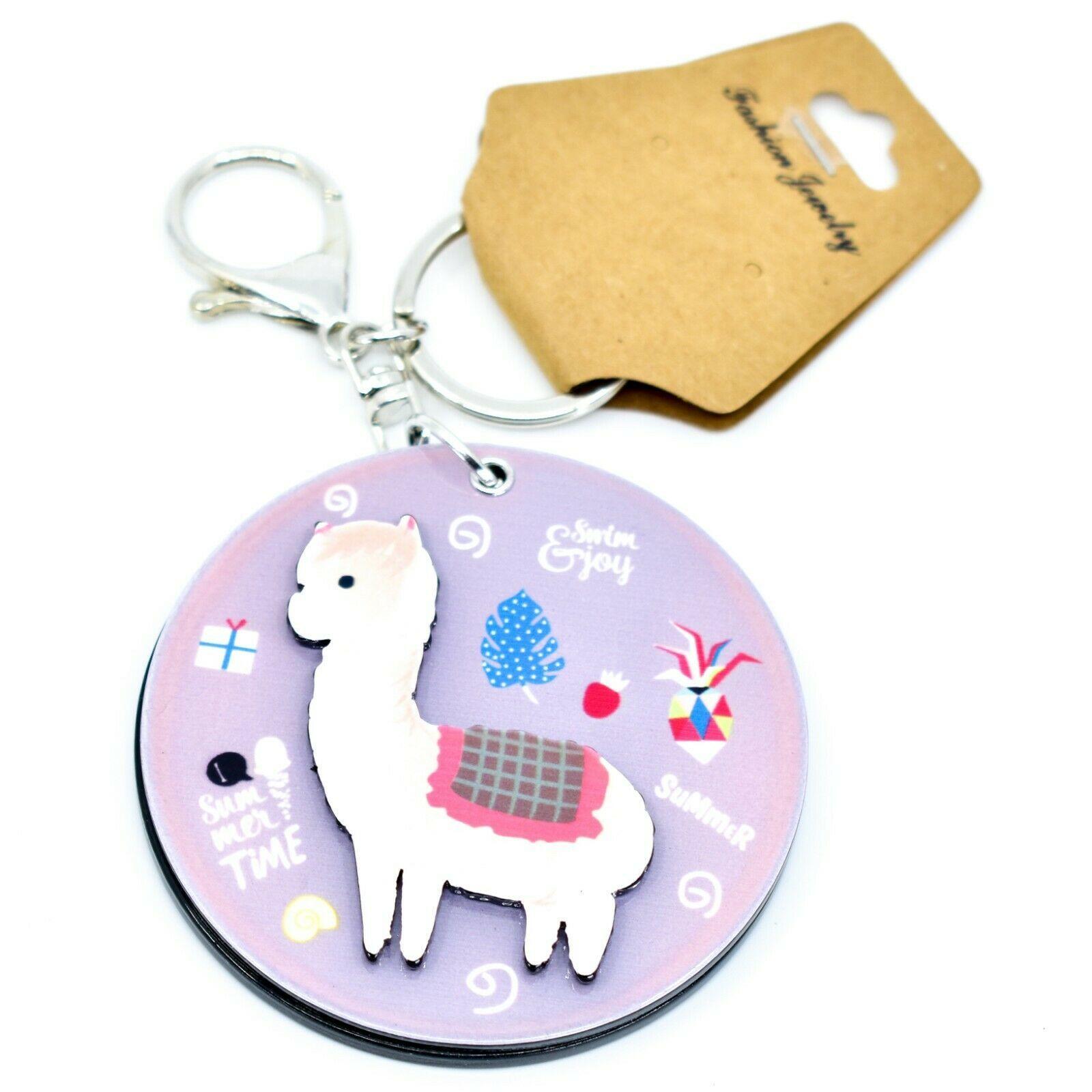 "2.75"" Acrylic Alpaca Llama Round Keychain Key Chain New with Tags NWT"