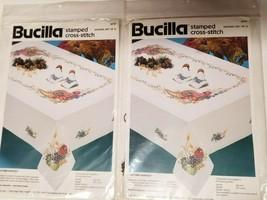 Bucilla Autumn Harvest Napkins Stamped Cross Stitch Lot of 2 Total 8 Napkins  - $26.11
