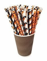 Gentle Meow 100 Pack Halloween Series Disposable Drinking Straws Party B... - $17.23