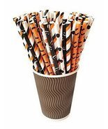 Gentle Meow 100 Pack Halloween Series Disposable Drinking Straws Party B... - £13.40 GBP