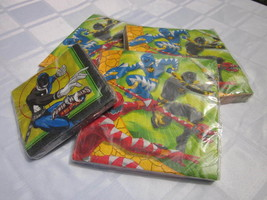 POWER RANGERS DINO THUNDER BVS 16 LUNCH NAPKINS LOT of 4 NEW RARE PARTY ... - $14.24