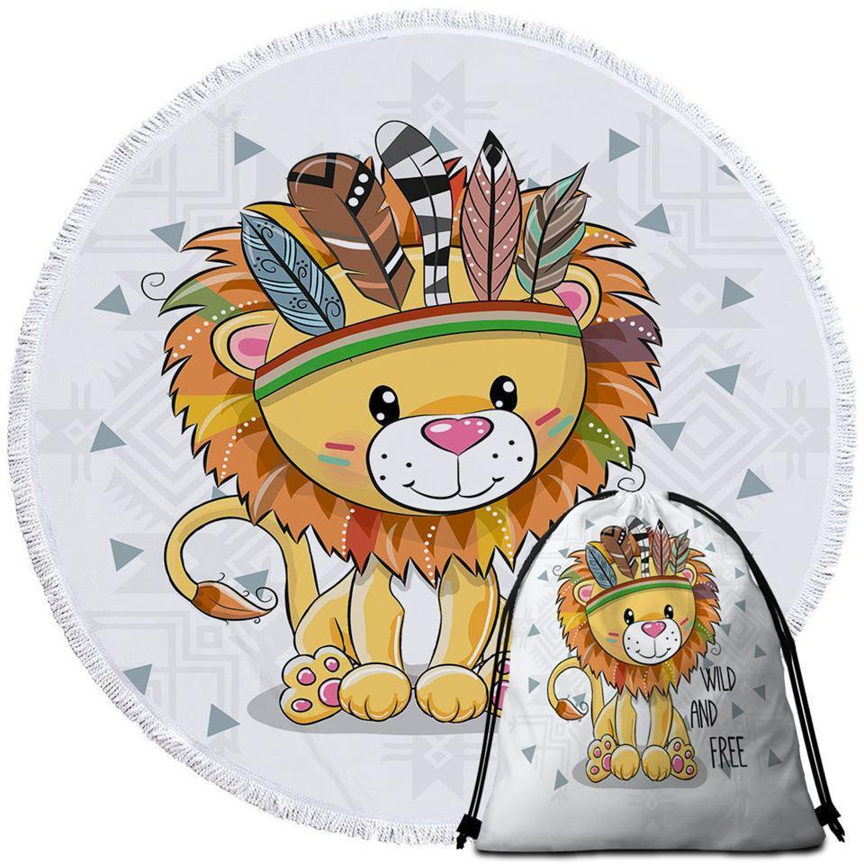 Primary image for Sweet Native American Lion Cub Beach Towel
