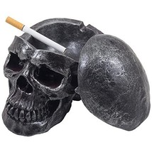 Spooky Human Skull Ashtray with Cover for Scary Halloween Decorations an... - $22.59