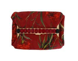 Dolce & Gabbana Red Roses Print Crystal Clutch Purse Bag - $13.975,14 MXN
