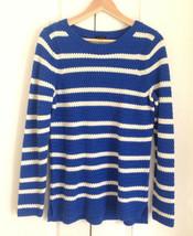 Talbots Women Sweater M Blue White Stripe Zig Zag Knit Long Sleeve Cotto... - $44.50