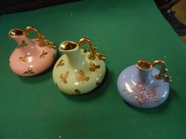 """Great Collection Set of 3 PITCHER """"Bud"""" VASES-Gold Trim - $13.57"""