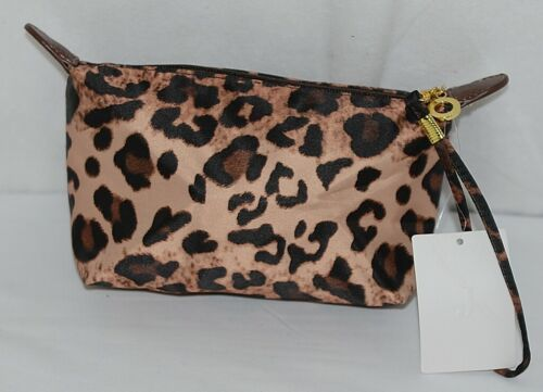 J Brand HM1006LP Leopard Print Zipper Makeup Bag Carrying Strap