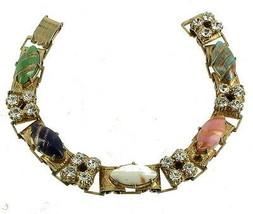 VINTAGE NAPIER VENETIAN MURANO GOLD ADVENTURINE MARQUISE & RHINESTONES L... - $107.99