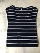 Talbots Navy and White Striped Sweater Small Sleeveless Knit Keyhole But... - $21.30